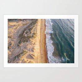 Beach at sunset Art Print