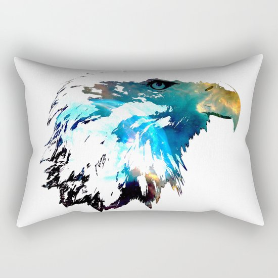 Space Bald Eagle Rectangular Pillow