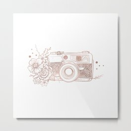 Floral Camera Pink Rose Gold Metal Print