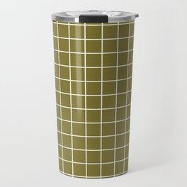 Spanish bistre - green color - White Lines Grid Pattern Travel Mug