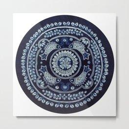 Hand Batik Cotton Round beach roundie Metal Print