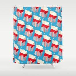 Milk Pattern - Blue Shower Curtain