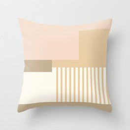 Sol Abstract Geometric Print in Tan Throw Pillow