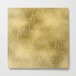 Merry christmas- christmas typography on gold pattern Metal Print
