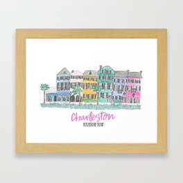 Charleston Rainbow Row Framed Art Print