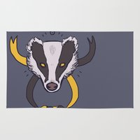 badger Area & Throw Rugs featuring badger ribbon by nisimalotse