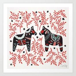 Swedish Dala Horses – Red and Black Palette Art Print