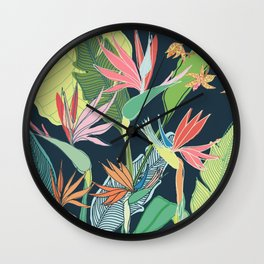 Tropical Bird of Paradise Wall Clock