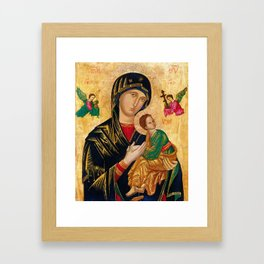 Our Lady of Perpetual Help Virgin Mary and Child Icon Christmas Gift Religion Framed Art Print