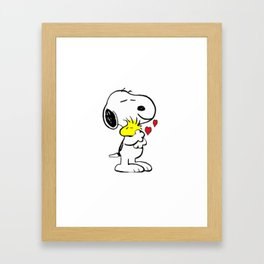 snoopy with woodstock Framed Art Print