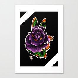 Rabbit Rose Silhouette Canvas Print