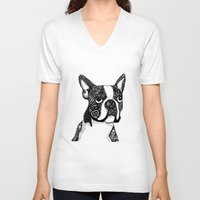 boston terrier V-neck T-shirts featuring Boston Terrier by DayLee Doodler