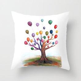 Balloon Tree Watercolor Throw Pillow