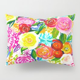 Bright Colorful Floral painting Pillow Sham