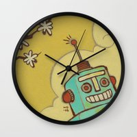 robot Wall Clocks featuring Robot by Willow Dawson