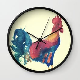 Watercolor Rooster Wall Clock