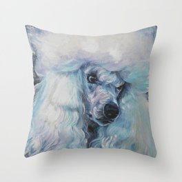white POODLE dog art portrait from an original painting by L.A.Shepard Throw Pillow