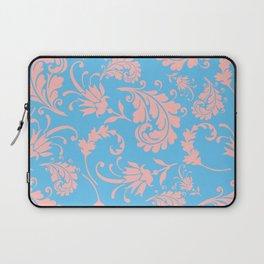 Vintage chic blue coral pink floral damask Laptop Sleeve
