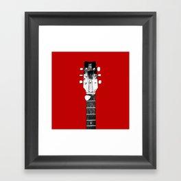 Guitar - Head, Red Background Framed Art Print