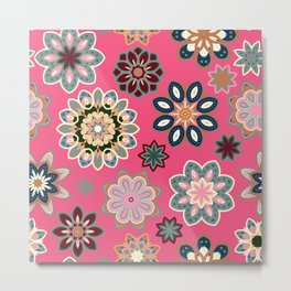 Flower retro pattern in vector. Blue gray flowers on pink background. Metal Print