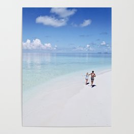 Enjoying the Beach in Maldives Poster