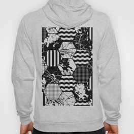 Hexual - Black and white, honeycomb, hexagon pattern, stripes, paint splats, grid and marble Hoody