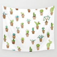 cacti Wall Tapestries featuring Cacti by Yardia