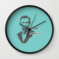 lincoln Wall Clocks featuring Abebroham Lincoln by Spooky Dooky