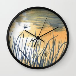 Dawn on the pond Wall Clock
