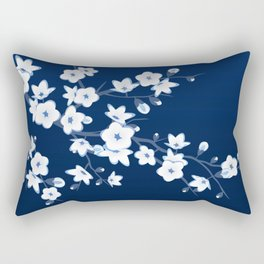 Navy Blue White Cherry Blossoms Rectangular Pillow