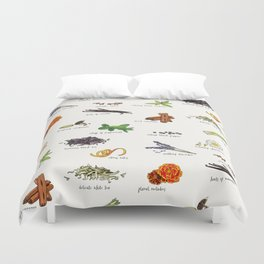 Tea Ingredients Medley Duvet Cover