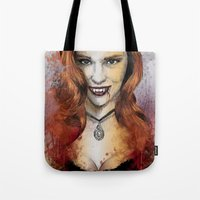 true blood Tote Bags featuring Oh My Jessica - True Blood by Fresh Doodle - JP Valderrama