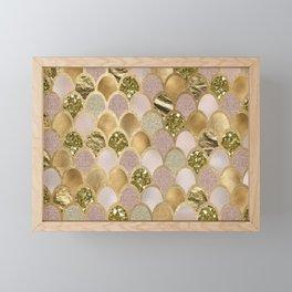 Rose gold glittering mermaid scales Framed Mini Art Print