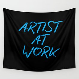Artist at Work (blue) Wall Tapestry