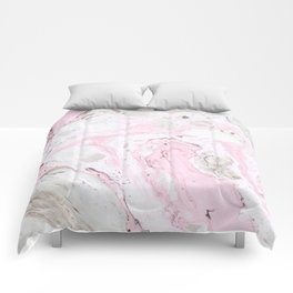 Pink and gray marble Comforters