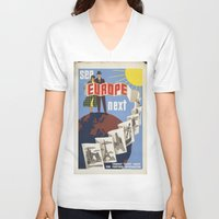 europe V-neck T-shirts featuring EUROPE by Kathead Tarot/David Rivera