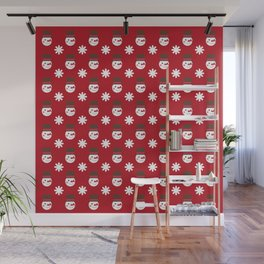 Snowman Snowflakes pattern Christmas decorations retro colors dark red background Wall Mural