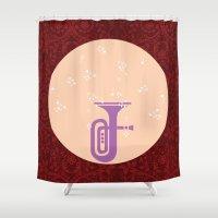 trumpet Shower Curtains featuring Trumpet by Design4u Studio