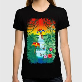 Waterfall Macaws and Butterflies on Exotic Landscape in the Jungle Naif Style T-shirt