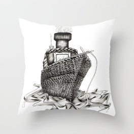 Knitted Ship Throw Pillow