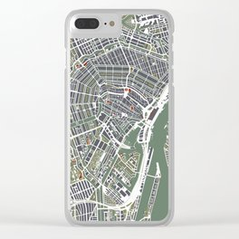 Amsterdam city map engraving Clear iPhone Case