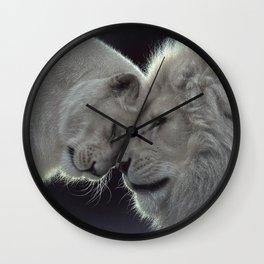 White Lion Love Wall Clock