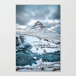 KIRKJUFELL IN WINTER - ICELAND MOUNTAIN - LANDSCAPE NATURE PHOTOGRAPHY Canvas Print