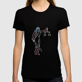 Lady Justice Holding Sword and Balance Neon Sign T-shirt