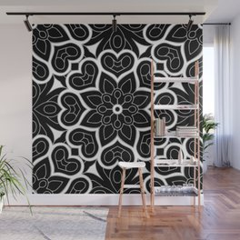 Black and White Flower Hearts Wall Mural