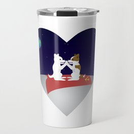 Belka and Strelka on the moon Travel Mug
