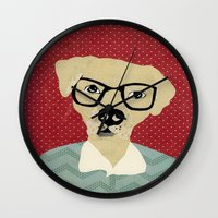 labrador Wall Clocks featuring Labrador  by Colorfly Studio