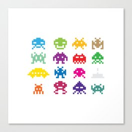 Space Invader White Canvas Print