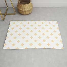 Tan Swiss Cross Pattern Rug
