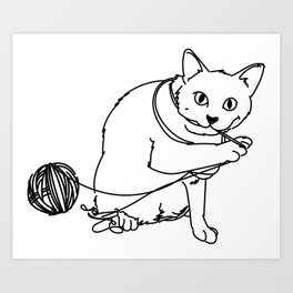 Kitty vs Yarn Art Print